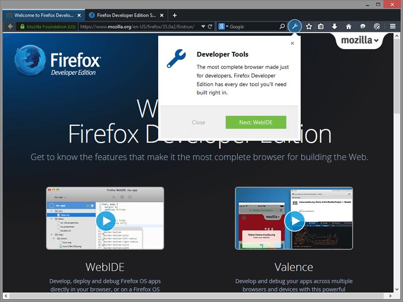 Tampilan Firefox Developer Edition
